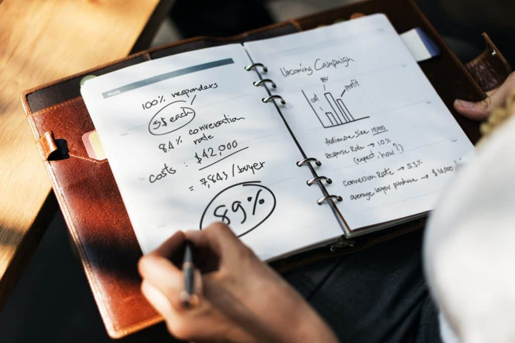 leather notebook with business figures, graphs and calculations