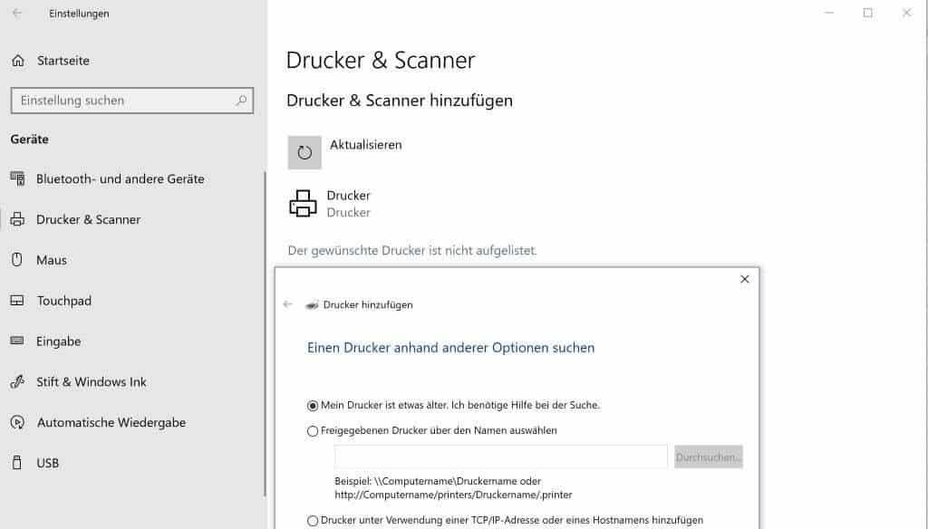 Excel Insights: Screenshot Der gewünschte Drucker findet sich nicht in der Liste