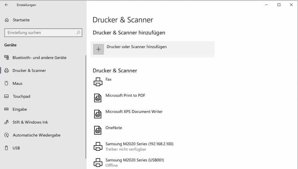 Excel Insights: Screenshot Einstellungen Drucker & Scanner
