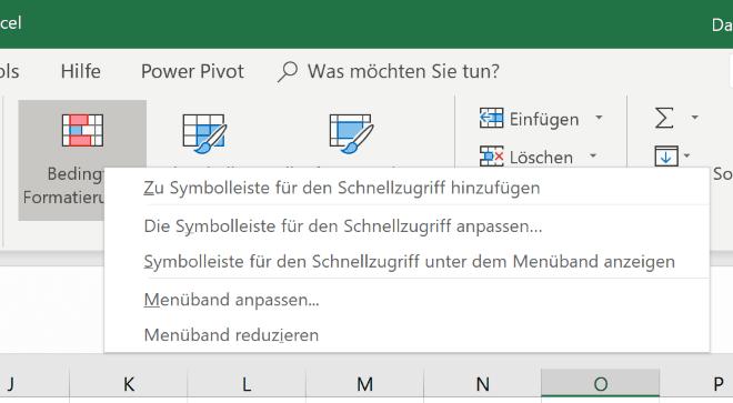 Excel Insights: Screenshot Kontextmenü Symbolleiste für den Schnellzugriff