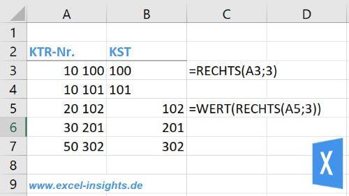 Excel Insights: Excel RECHTS Funktion zum Abschneiden beliebiger Zeichen aus einer Zeichenfolge