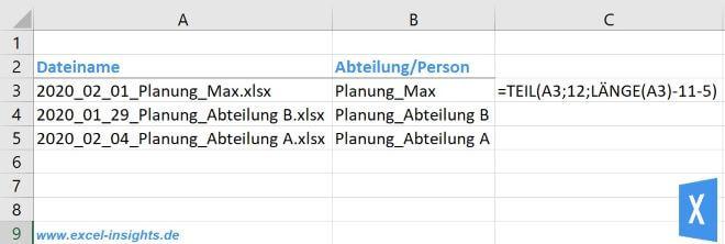 Excel Insights: Excel TEIL Funktion mit LÄNGE