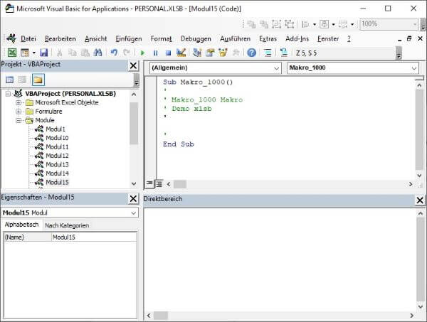 Excel Insights: Makros aus der pe4rsonal.xlsb im VBA-Editor bearbeiten