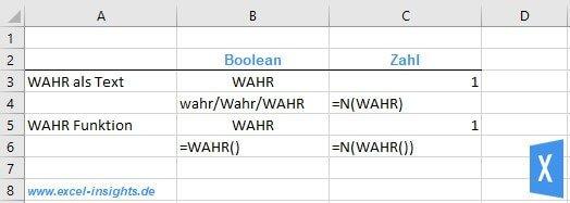 Excel Insights: Den Rückgabewert der Excel WAHR Funktionkannst du mit der Funktion N in die Zahl 1 umwandeln